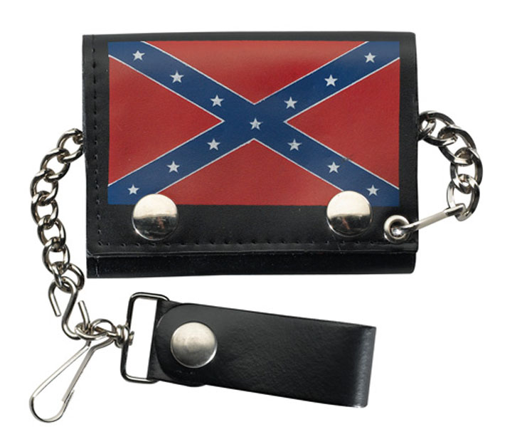 Leather Trifold Wallet REBEL FLAG